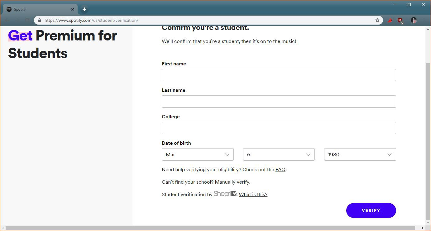 spotify student sign up